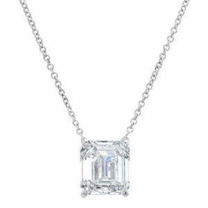 1 Carats Emerald diamond women necklace pendant wh